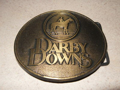 VINTAGE 1970s **DARBY DOWNS** EQUESTRIAN CENTER HORSE RACING BELT BUCKLE