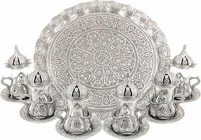 New Open Turkish Moroccan Indian Tea Set for Six-Glasses with Brass Holders ect.