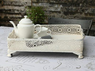 White Orante French Country Chic Metal Tray Decorative Shabby Vintage Antique