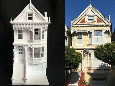 Miniature Victorian Painted Ladies White Train House HO Scale Assembled