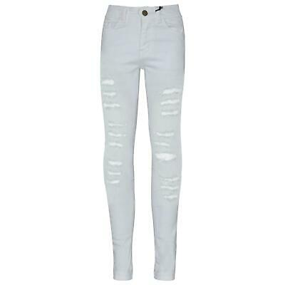 Kids Girls Skinny Jeans Denim Ripped Fashion White Stretchy Pant Jegging 3-14 Yr