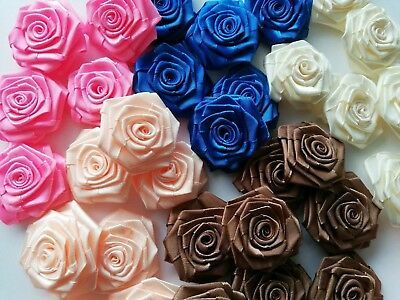 Satin Ribbon Roses Flowers Buds 10 pcs Handmade Approx size 45mm Flowers buds