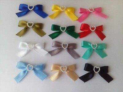 Small Ribbon Bows W/ Heart in Centre Size Bow 40mm Blue White Red Green 20/40pcs