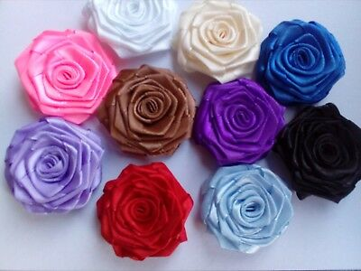 15 pcsSatin Ribbon Rose  Applique Sewing Wedding SIZE 47-50mm Purple White Ivory