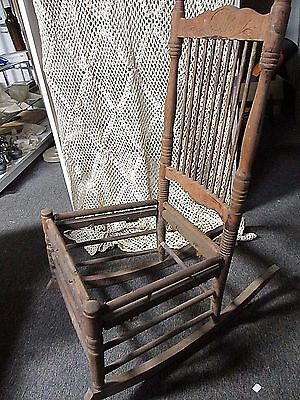 Press Back Rocking Chair  Mostly Stripped of Original Stain  No Seat