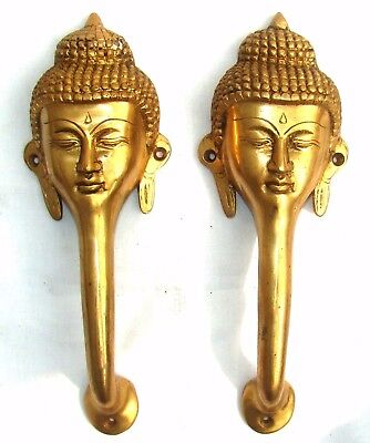 A set of Auspicious solid brass made Buddha face Door Handles Vintage style *