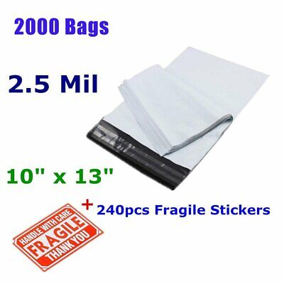 2000 10x13 Self Sealing Poly Mailers Shipping Envelopes Plastic Bags 2.5 Mil New