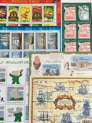 Timbres France Neufs - Lot 42 timbres dont 5 Blocs et 1 Carnet - Faciale 19,99€