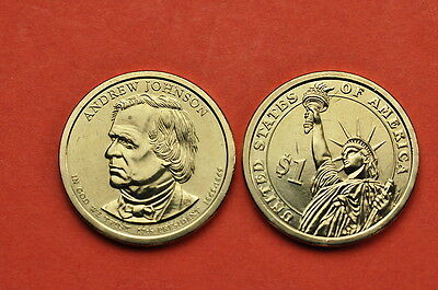 2011 P&D  BU Mint State(Andrew Johnson) US Presidential One Dollars (2 coins)
