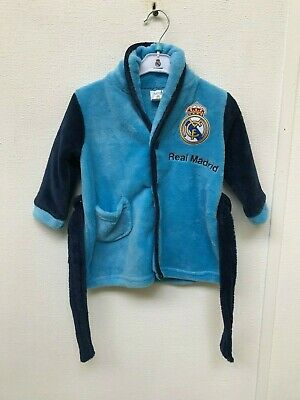 Real Madrid Baby Dressing Gown Robe - 6 Months - Blue - New