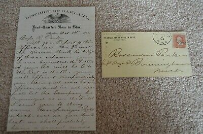 1866 Michigan Boys In Blue Pontiac Letters Captain Rossman Parks Handwritten!