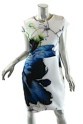 0193a525 REED KRAKOFF White Polyester Blend 'Work of Art' Floral Motif Cap Slv Dress  Sz