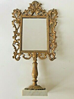 Antique Vanity Mirror Ornate Victorian Cast Metal Gold Marble Stand Frame
