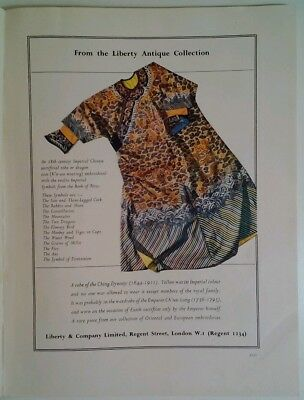 Liberty And Co. Print Ad 1950 RARE VHTF London Antique Ching Dynasty Robe