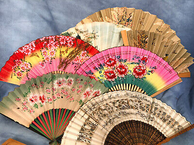 Vintage Lot of 7 Wood Bamboo Paper Fans, Oriental Hand Painted Folding Fans