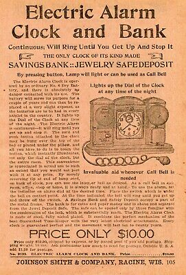 1922 small Print Ad of Electric Alarm Clock & Savings Bank Jewelry Safe Deposit