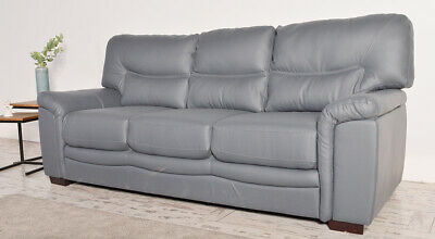 Nelson 3 Seater Grey Leather Sofa