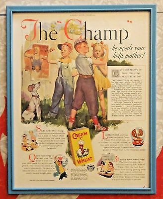 """Vintage 1937 Framed Lithograph Advertisement - Cream Of Wheat - """"The Champ"""""""