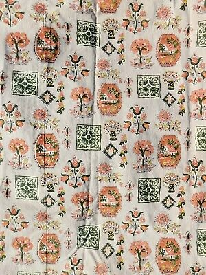 VINTAGE 1940's 50's LINED CURTAIN PANEL FABRIC PINK GREEN TREES HOUSES FLOWERS