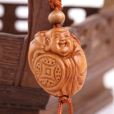 Wood 3D Carving Chinese Happy Buddha Statue Sculpture Pendant Key Chain QU