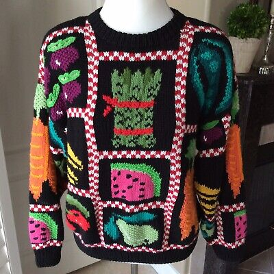 Northern Isles Sweater Women's Large Vegetable Garden Fruits Hand Knit Vintage