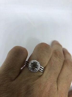Vintage Genuine White Sapphire And Smoky Quartz 925 Sterling Silver Size 5 Ring