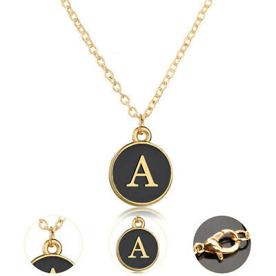 Fashion Crystal Initial Alphabet Letter A-Z  Gold Plated Pendant Chain Necklace