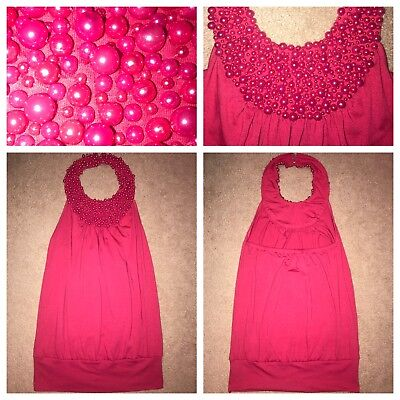 New☆W/Tags☆Moa☆Moa☆Halter☆Neck☆Beaded☆Shirt/Top☆Hot☆Pink☆Womens☆Small☆Free☆Ship!