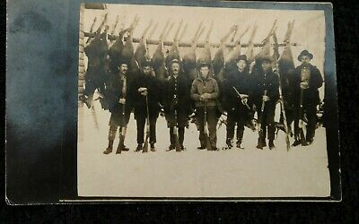 Vintage deer hunting camp real photo picture postcard 1914 several hunters #2