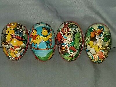 Vintage EASTER EGG Paper Mache Over Wood, Made in West Germany Chicks Bunny Duck