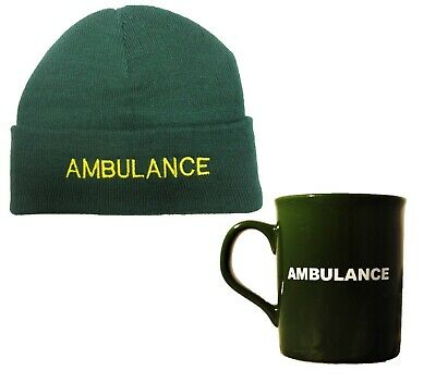 Ambulance Green Woolly Beanie Hat & Mug Set EMT Paramedic Medic First Responder