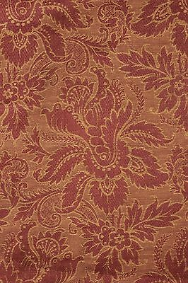 Antique French fabric 19th century jacquard weave furnishing rust tone