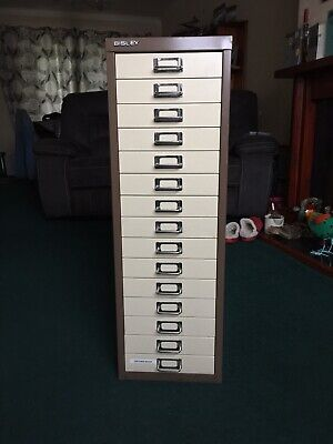 Bisley - 15 Multi Drawer Filing Cabinet Brown/Cream, Very good Condition.