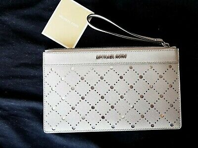 Michael Kors Clutch Bag BNWOT Stone/Grey silver background
