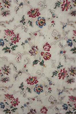 French Fabric Antique Floral Bedspread bedcover 1820 textile wood block printed