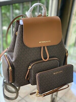 Michael Kors Abbey Large Mk Signature Brown Cargo Backpack + Continental Wallet