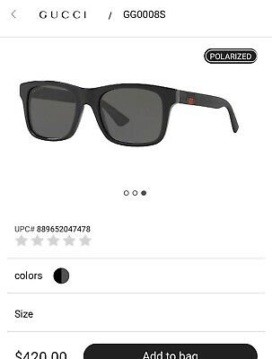 46de0967cd *NEW AUTHENTIC* GUCCI GG0008S 002 BLACK FRAME,GREY POLARIZED LENS, SIZE 53mm