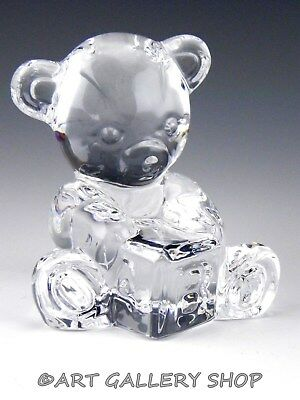 Waterford Crystal Figurine Paperweight TEDDY BEAR WITH BLOCK KIDS BIRTHDAY Mint
