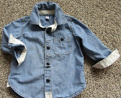Baby GAP Boys Blue Shirt Chambray Denim Button Up Down 3 Years Spring 1969 Jean