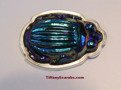 Rare Antique  Signed Tiffany Blue Favrile Art Glass Scarab Sterling Brooch Pin