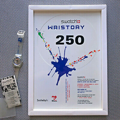 Rare SWATCH Wristory Auction NYC Dec 2001 Boxed Invitation Paddle & Watch