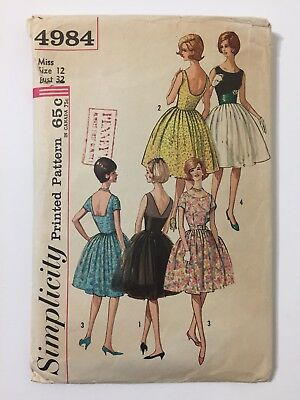 Vtg Early 60s Simplicity 4984 Misses Party Dress Sewing Pattern Size 12 Bust 32