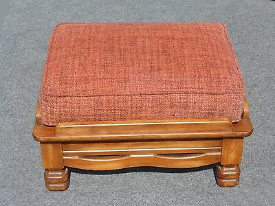 Large Vintage Monterey Style Solid Wood Ottoman Bench w Red Orange Upholstery