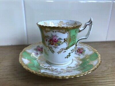 Antique Coalport Y2665 Batwing Green Cup And Saucer Great Condition