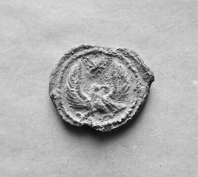 BYZANTINE LEAD SEAL/ BLEISIEGEL OF IMPERIAL OFFICER THEODOTOS WITH EAGLE 7th c.