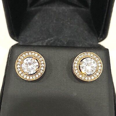 Classic 2 Ct AAA Round Cubic Zircon Stud Halo Earrings 14K Rose Gold Plated Gift