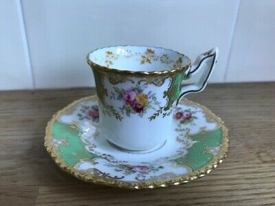 Antique Coalport Y2665 Batwing Green Cup And Saucer Great Condition Small