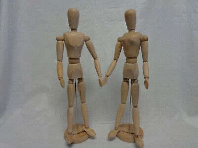 "Euc 17"" Tall 2Pc Lot Richeson Artists Wooden Mannequin Male/female Model/figure"