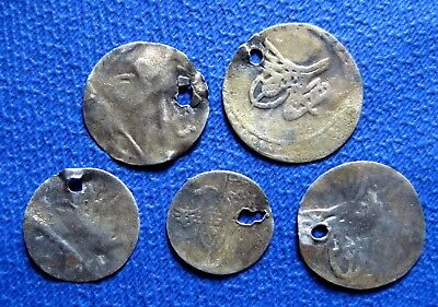 AH  1171, 1143   COINS PERIOD OF OTTOMAN  SILVER & GOLD PLATE  lot of 5