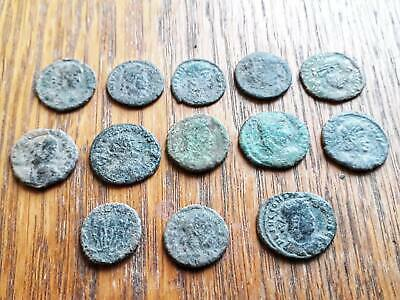 Beautiful Lot Of 13 Ancient Roman Coins For Cleaned